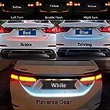 Kakiyi 120cm RGB LED Streifen Kofferraum Heckbremse Blinker Licht Durchflusstyp Eis Blau Rot Gelb Weiß