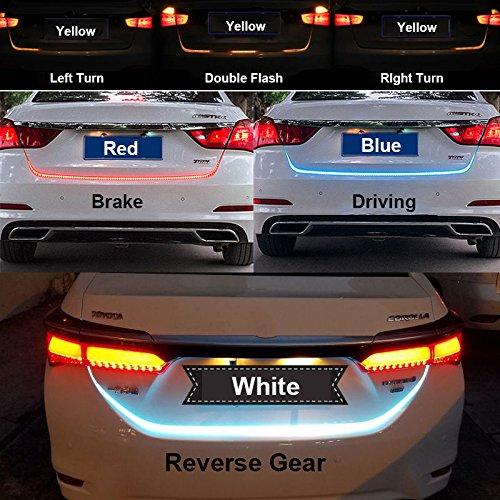 Kakiyi 120cm RGB LED Streifen Kofferraum Heckbremse Blinker Licht Durchflusstyp Eis Blau Rot Gelb Weiß (Lkws Led-brems-lichter Für)