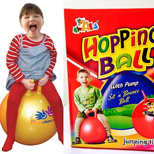 Go Acacia Joyful Ad Sit and Bounce Hopping Ball with Pump, 60cms/ 24-inch (Multicolour)