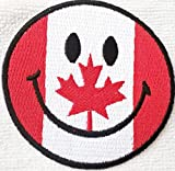 Aufnäher/Aufbügler Smiley Applikation Aufnäher Flagge Smiley Kanada 7,5 cm