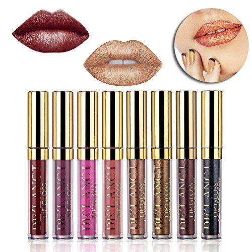 DE'LANCI Metallic Matt Flüssig Lippenstift Lip Gloss Wasserdicht Langlebig Lip Kit 8Pcs / Set