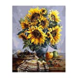 XtraCare DIY Digital Leinwand Ölgemälde Erwachsene Ölfarben Abstrakte Bilder Selber Malen [Ohne Rahmen, 40*50cm] (Sonnenblumen)