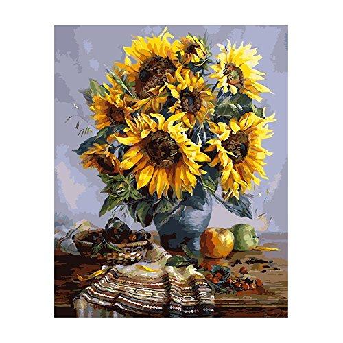 (XtraCare Malen nach Zahlen für Erwachsene und Kinder Leinwand-Ölgemälde Geschenk - 40 x 50cm, Sonnenblumen)