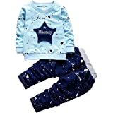 Googo Gaaga Boy's Full Sleeves Sweatshirt with Pant Set in Blue