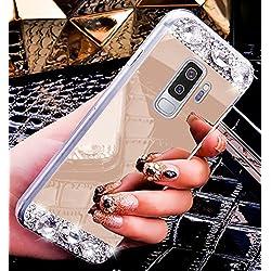 ikasus - Carcasa para Galaxy S9 Plus, carcasa trasera de TPU con espejo, cristales brillantes, goma suave, brillante, espejo brillante, carcasa de maquillaje para Galaxy S9 Plus