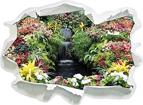 fiore oasi colorato, carta 3D autoadesivo della parete formato: 62x45 cm decorazione della parete 3D (Fiore Fontana Parete)