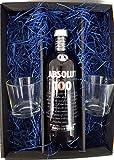 Absolut Set / Geschenkset - Absolut 100 Vodka 1L (50% Vol) + 2x Absolut Gläser geeicht 2/4cl