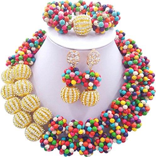 Laanc 2rows Rouge Collier de perles Turquoise et strass Doré du Nigeria africain Bijoux Femme Définit Multicolor and Rhinestone Gold
