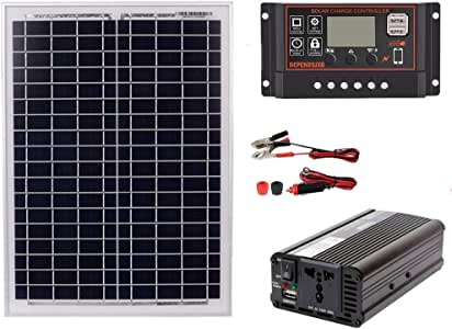 Cikuso 18v20w Inverter Kit AC220v Contrast 1500w Solar Panel 12v/24v Suitable for Energy-Saving Solar Power Generator System AC220v, 60A