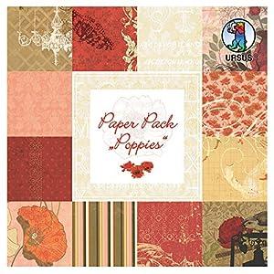 Ursus 41200099F Paper Pack Poppies, Aprox. 15,3x 15,3cm, 24Hojas Surtido en 12Motivos