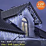 ICICLE Lights 220 LED Blue White Indoor & Outdoor Snowing Christmas Lights Fairy Lights 7m / 23 ft with 10m / 33 ft Lead Wire- Multi-Action - Green Cable
