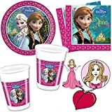Procos Set pour goûter d'anniversaire 36 pièces Assiettes en carton/serviettes/gobelets pour enfant Thème Frozen/princesse Anna...