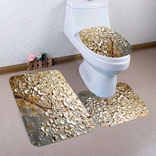 smileq 3Badteppich Set 3D Print Baum Badezimmer Rutschfeste Ständer Teppich Deckel WC-Deckelbezug Badteppich Set Home Decor D Auto-lack-ständer