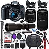 Canon EOS Rebel T7i DSLR Camera With 18-55mm STM Lens Bundle + Canon EF 75-300mm F/4-5.6 III Lens And 500mm Preset Lens + 32GB Memory + Filters + Monopod + Spider Tripod + Professional Bundle