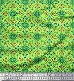 Soimoi Grun Samt Stoff Blätter, Blumen & Quatrefoil Damast