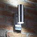 Auraglow PIR Bewegungssensor Edelstahl Sicherheitslicht Hoch & Runter IP44 Wandlicht fürs Freie - Birnen Inbegriffen