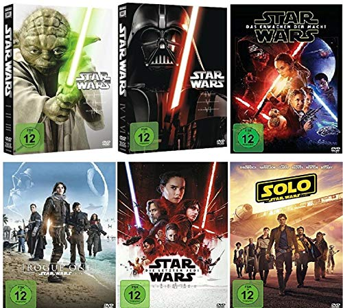 Star Wars Box 1-3 + 4-6 + Erwachen der Macht + Rogue One + Die letzten Jedi + Solo: A Star Wars Story / Komplett [DVD Set]
