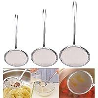 Maglia fine colino in acciaio INOX  Goodchanceuk 3 pack olio colino cucchiaio utensile da cucina argento S M L