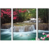 SAF 'Waterfall Nature' UV Textured Painting (Synthetic, 12 inch x 18 inch, Set of 3) SANFJMA9186