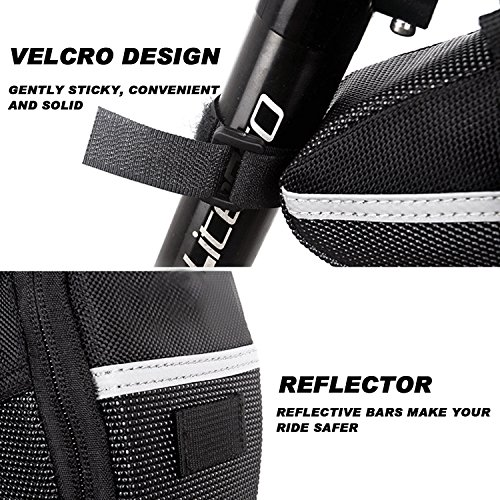 Fahrrad Satteltasche, Ubegood Kompakte Fahrradtasche Befestigungsriemen Aero Wedge Pack Satteltasche Mountainbike Bag für Handy, Werkzeug und Portmonnaie - Schwarz - 6