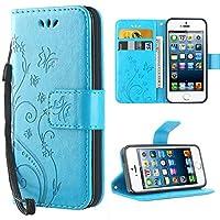 iPhone se Hülle, iDoer iPhone se Solide Butterfly PU Ledercase Tasche Hülle Schutzhülle Flip Case Magnetverschluss Handyhülle im Wallet Bookstyle Standfunktion für Apple iPhone 5 5S SE - Blau