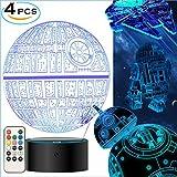 Star Wars 3D Lampe für Geschenke - Star Wars Spielzeug Nachtlicht, 4 Modus und 7 Farbwechsel mit Fernbedienung oder Touch, Dekorieren Kinds Bedroom. 2019 Besten Geschenke von(4 Packs-Bigger-Heller)