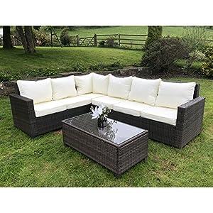61Vf wT8qqL. SS300  - OWO Living Rattan Outdoor Corner Sofa Set Garden Furniture (Brown)