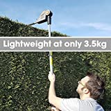 Long Reach Cordless Hedge Trimmer 18V/20V-Max Lithium-Ion 2.4m Telescopic Extendable Pole 450mm Cutting Length, 5 Positions for Tall Hedges, Battery Powered Battery, Charger & Shoulder Strap Included Bild 3