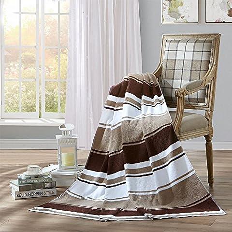 BDUK Toallas de algodón puro algodón rayas minimalista y elegante Siesta mantas y edredones ligero aire acondicionado solo