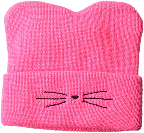 D&Y Damen Ribbed Knit Beanie hat with Whiskers Embroidery Strickmütze, hot pink, Einheitsgröße - Ribbed Knit Beanie