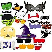 Malayas® Set de 22pzas Accesorios Photocall Photocalls ( 5-15cm ) Halloween con Palitos Adhesivos Mascaras Para Tomar foto en Halloween Fiestas Bodas Cumpleaños Navidad, Photo Booth Props