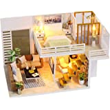 Festnight Miniature Super Mini Size Doll House Model Building Kits Wooden Furniture Toys DIY Dollhouse Girl Bedroom Simple an