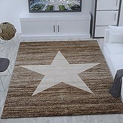 Alfombra de polipropileno Heatset, dibujo de estrella, jaspeada, en beige para la habitación juvenil - Material certificado según ÖKO TEX, Maße:80x150 cm