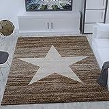 Heatset Jugendzimmer Teppich, Sternmuster, Meliert in Beige Braun - ÖKO TEX Zertifiziert, Maße:120x170 cm thumbnail