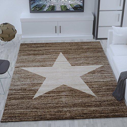 Heatset Jugendzimmer Teppich, Sternmuster, Meliert in Beige Braun - ÖKO TEX Zertifiziert, Maße:120x170 cm