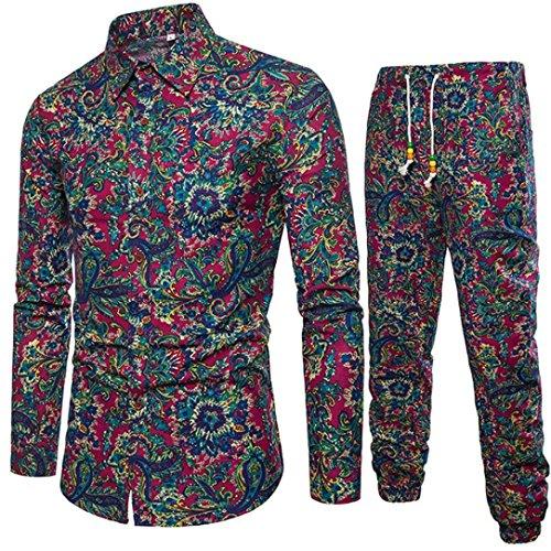 Chemise à Manches Longues, Malloom Mens Casual Business Slim Fit Chemise Imprimer Blouse Top + Pantalo