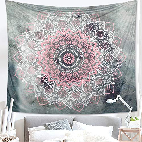 Dremisland Grau und Rosa Lotus Tapisserie wandteppich indisch Mandala Hippie Bohemien Orientalisch wandtuch wandbehang Blume Wand Dekoration Tapestry (Muster 2, L/203x153cm(80x60inch))
