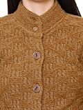 Matelco Women's Brown Short Woollen Hi-Neck Cardigan with Pockets
