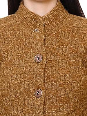 Matelco Women's Brown Short Woollen Hi-Neck Cardigan with Pockets