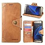 Samsung Galaxy S7 Edge Hülle, Lensun Handyhülle Handytasche Samsung Galaxy S7 Edge (5.5 Zoll) Leder Tasche Huelle Flip Case Ledertasche Schutzhülle – Braun (S7E-GT-BN)