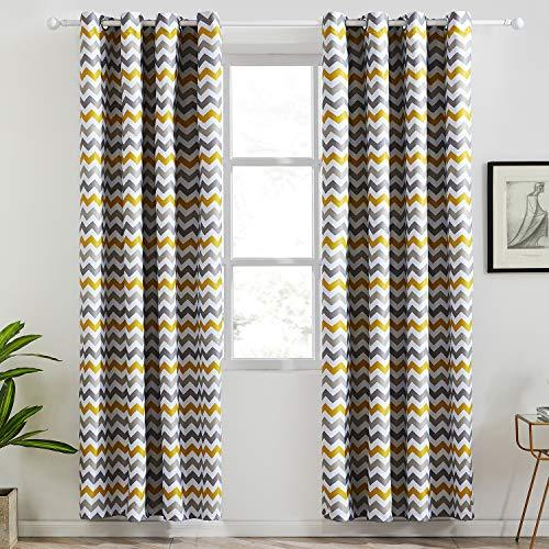 Cortinas de rayas amarilla y gris 140 x 220 cm