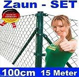 Maschendraht - Zaun - SET komplett Höhe 100cm 15 Meter