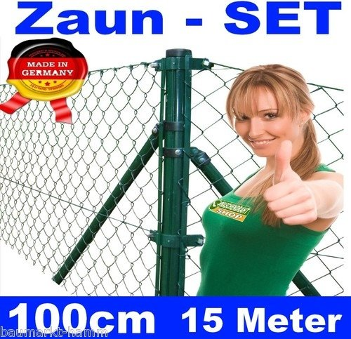 *Maschendraht – Zaun – SET komplett Höhe 100cm 15 Meter*