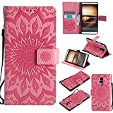 BestCatgift Ascend Mate7 Wallet Hülle, [Sun Flower] Mate 7 PU Leather Cover Wallet Phone Hülle für Huawei Ascend Mate7 - Pink