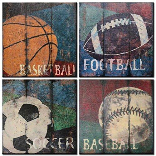 CUFUN art - Baloncesto Fútbol Baseball Rugby Deportes antiguos Lienzos para niños Habitación Cuadros sobre lienzo Marco de madera listo para colgar (12 × 12in × 4pcs) (30cm x 30cm x 4pcs)