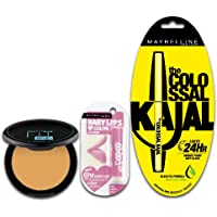 Maybelline New York Colossal Kajal & Baby Lips Pink lolita & Fit Me Compact Combo, 16.9g