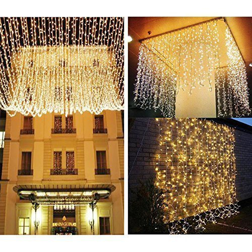 KNONEW LED String Lights -- 300LEDs Outdoor Indoor Window Curtain Icicle Lights Fairy String Light for Wedding Party Home Garden Bedroom Christmas Lighting Decorations 3m*3m for UK only(Warm White)