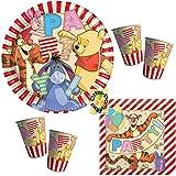 Winnie Pooh Alphabet Partyset 52tlg. Teller Becher Servietten für 16 Kinder
