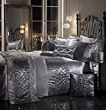 SPARKLE SEQUIN Luxury Diamante Bedding Bedroom Collection by Viceroybedding (Silver Grey Super king Duvet Cover Set Including Pair of P/Case)