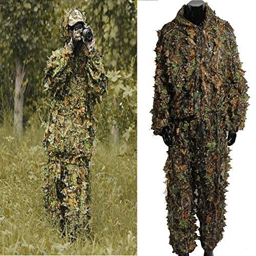 OUTERDO 3D foglia vestito di Ghillie Woodland Camo Abbigliamento mimetico giungla Caccia Formato libero